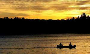 canoeing in the evening